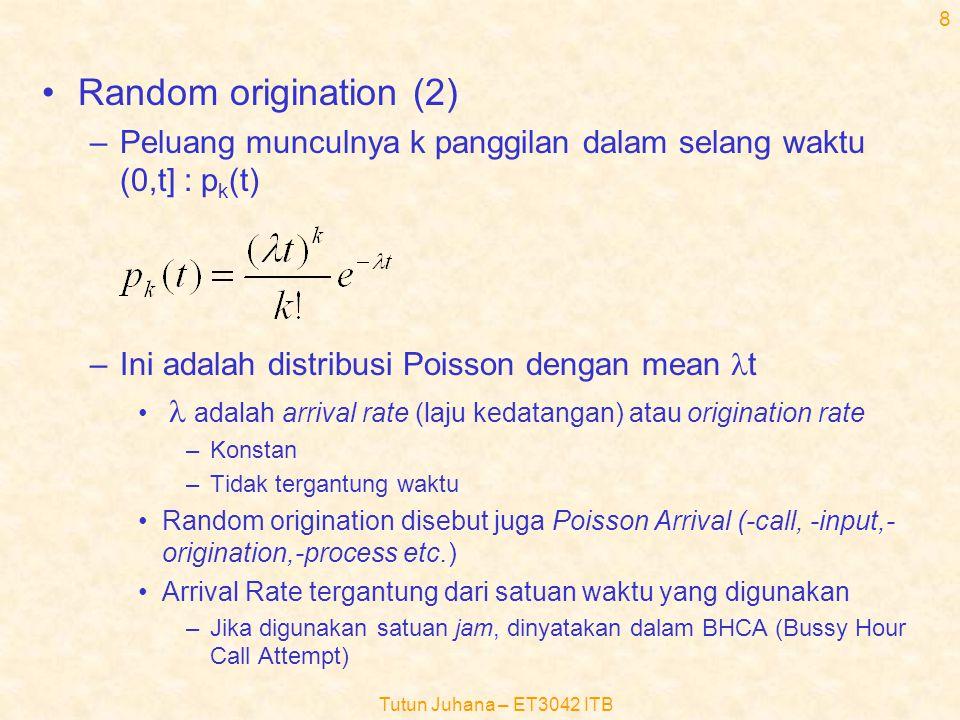 Random origination (2) Peluang munculnya k panggilan dalam selang waktu (0,t] : pk(t) Ini adalah distribusi Poisson dengan mean lt.